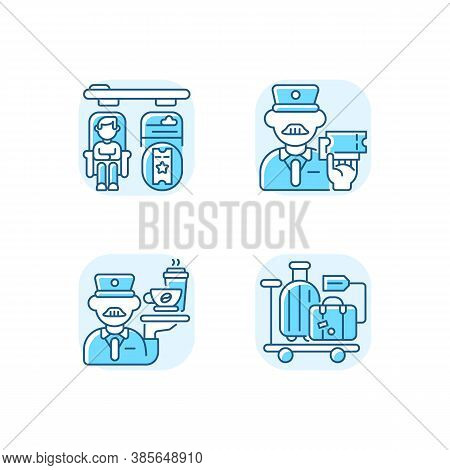 Premium Railway Service Blue Rgb Color Icons Set. Private Accommodation, Personal Stewart And Luggag