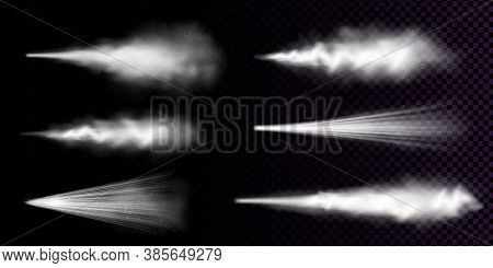 White Dust Spray Isolated On Transparent Background. Vector Realistic Set Of Smoke Or Powder With Pa