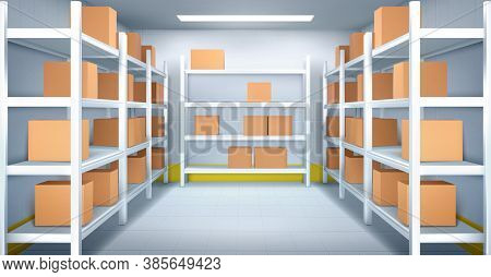 Cold Room In Warehouse With Cardboard Boxes On Racks. Vector Realistic Interior Of Industrial Storag