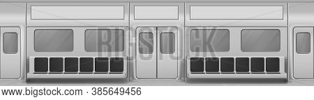 Train Wagon Interior With Seats, Windows And Closed Doors. Vector Realistic Background With Glass Wi