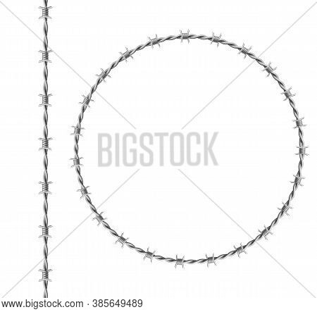 Steel Barbwire Set, Circle Frame From Twisted Wire With Barbs Isolated On White Background. Vector R