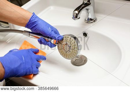 Hands In Blue Nitrile Rubber Gloves Clean The White Toilet.cleaning The Bathroom At Home .green Spon