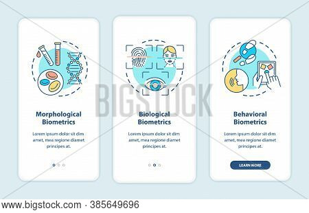 Biometrics Types Onboarding Mobile App Page Screen With Concepts. Kinds Of Person Recognition Walkth