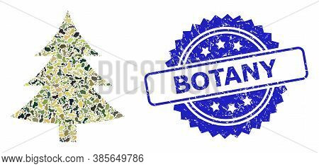 Military Camouflage Combination Of Fir Tree, And Botany Rubber Rosette Stamp. Blue Stamp Includes Bo