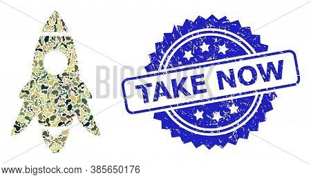 Military Camouflage Composition Of Rocket Start, And Take Now Grunge Rosette Stamp Seal. Blue Seal I