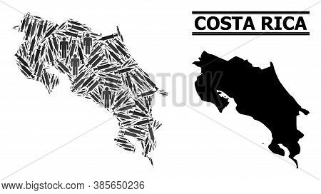 Inoculation Mosaic And Solid Map Of Costa Rica. Vector Map Of Costa Rica Is Designed From Inoculatio