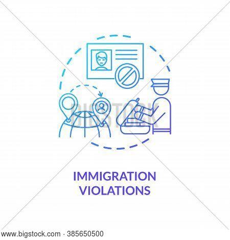 Immigration Violations Concept Icon. Border Crossing Controling Security Technologies. Biometrics Se