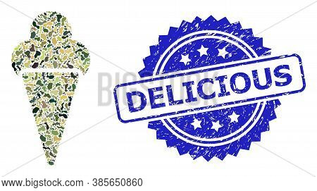 Military Camouflage Composition Of Icecream, And Delicious Scratched Rosette Stamp. Blue Stamp Inclu
