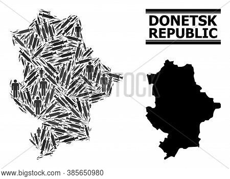 Vaccination Mosaic And Solid Map Of Donetsk Republic. Vector Map Of Donetsk Republic Is Shaped Of In