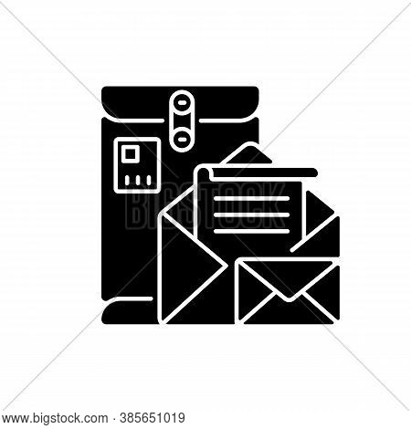 Postbox Black Glyph Icon. Personal Mailbox, Postal Service Silhouette Symbol On White Space. Old Fas