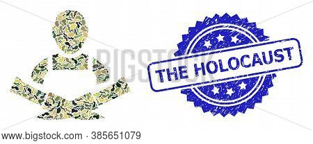 Military Camouflage Composition Of Butcher, And The Holocaust Dirty Rosette Stamp Seal. Blue Stamp S