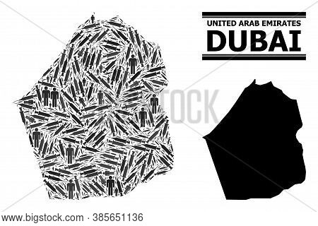 Covid-2019 Treatment Mosaic And Solid Map Of Dubai Emirate. Vector Map Of Dubai Emirate Is Composed