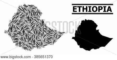 Vaccine Mosaic And Solid Map Of Ethiopia. Vector Map Of Ethiopia Is Designed With Vaccine Doses And