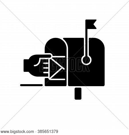 Mailbox Black Glyph Icon. Postal Service, Mail Delivery Silhouette Symbol On White Space. Traditiona