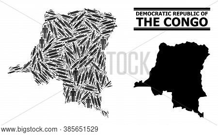 Inoculation Mosaic And Solid Map Of Democratic Republic Of The Congo. Vector Map Of Democratic Repub