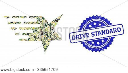 Military Camouflage Combination Of Star, And Drive Standard Corroded Rosette Stamp Seal. Blue Seal C