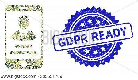Military Camouflage Composition Of Mobile User Info, And Gdpr Ready Unclean Rosette Watermark. Blue