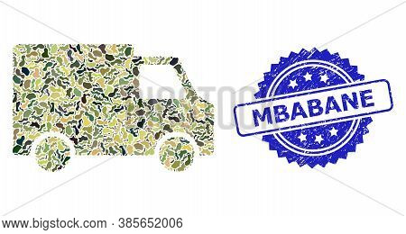 Military Camouflage Collage Of Van Car, And Mbabane Grunge Rosette Stamp Seal. Blue Stamp Has Mbaban