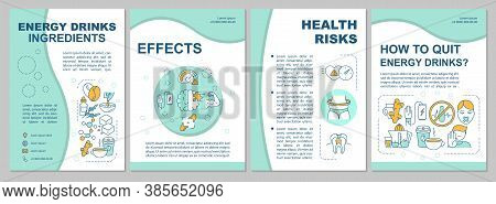Energy Drinks Ingredients Brochure Template. Caffeine Effect. Flyer, Booklet, Leaflet Print, Cover D