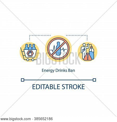 Energy Drinks Ban Concept Icon. Warning. Power Person. Caffeine Stimulates Physical Activity Idea Th