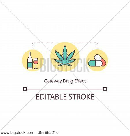 Gateway Drug Effect Concept Icon. Hemp, Narcotic, Alcohol And Pills. Risk Addiction Substances Idea