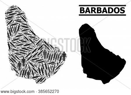 Vaccine Mosaic And Solid Map Of Barbados. Vector Map Of Barbados Is Organized Of Vaccine Symbols And