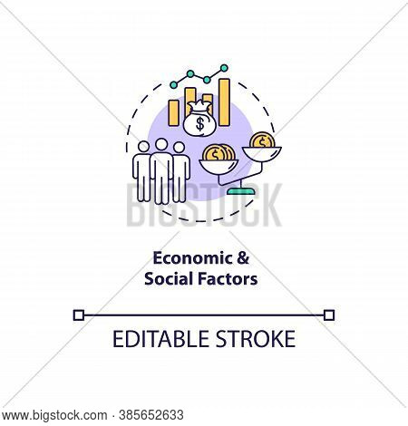 Economic And Social Factors Concept Icon. Pestel Analysis. Teamwork Stops Upgrading. Communication S