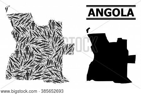 Inoculation Mosaic And Solid Map Of Angola. Vector Map Of Angola Is Shaped With Inoculation Icons An