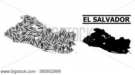Virus Therapy Mosaic And Solid Map Of El Salvador. Vector Map Of El Salvador Is Designed With Inject