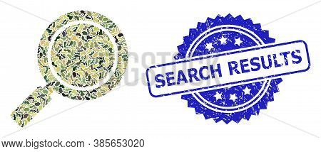 Military Camouflage Combination Of Search Loupe, And Search Results Rubber Rosette Stamp Seal. Blue