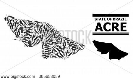 Covid-2019 Treatment Mosaic And Solid Map Of Acre State. Vector Map Of Acre State Is Shaped Of Inocu