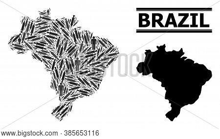 Inoculation Mosaic And Solid Map Of Brazil. Vector Map Of Brazil Is Formed With Vaccine Symbols And