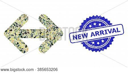 Military Camouflage Collage Of Exchange Arrows Horizontally, And New Arrival Textured Rosette Stamp.