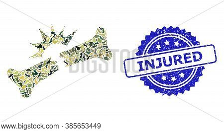 Military Camouflage Collage Of Bone Fracture, And Injured Scratched Rosette Seal Imitation. Blue Sea
