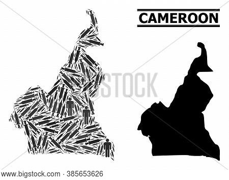 Syringe Mosaic And Solid Map Of Cameroon. Vector Map Of Cameroon Is Organized Of Vaccine Doses And M