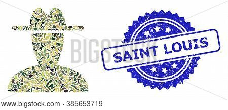 Military Camouflage Collage Of Peasant Persona, And Saint Louis Scratched Rosette Stamp Seal. Blue S