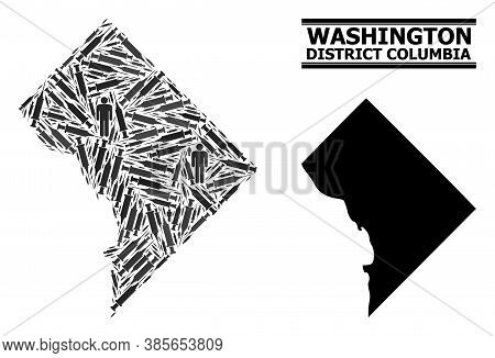 Covid-2019 Treatment Mosaic And Solid Map Of District Columbia. Vector Map Of District Columbia Is C