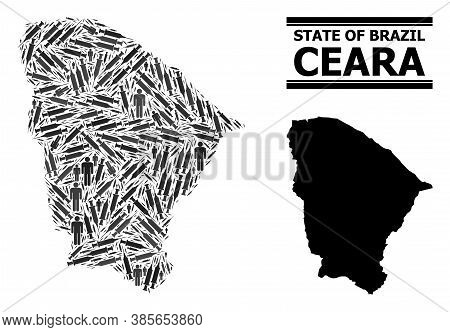 Vaccine Mosaic And Solid Map Of Ceara State. Vector Map Of Ceara State Is Constructed Of Vaccine Sym
