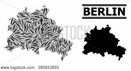 Inoculation Mosaic And Solid Map Of Berlin City. Vector Map Of Berlin City Is Designed Of Vaccine Do