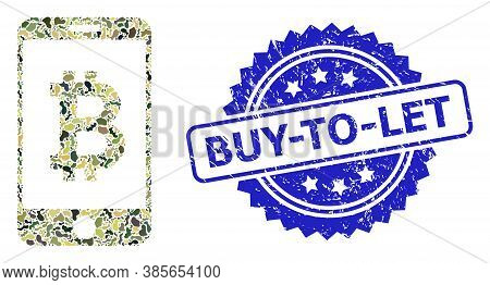 Military Camouflage Combination Of Mobile Bitcoin Bank, And Buy-to-let Corroded Rosette Stamp Seal.
