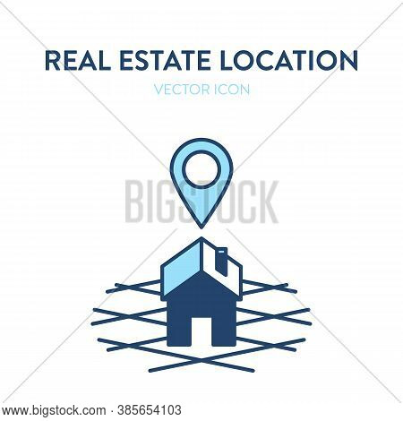 Home Location Icon. Vector Illustration Of A Image Of A Building On The Ground And Location Symbol A