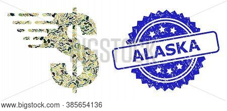 Military Camouflage Composition Of Dollar, And Alaska Rubber Rosette Seal. Blue Seal Contains Alaska