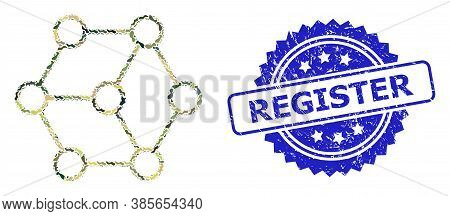Military Camouflage Composition Of Blockchain Nodes, And Register Corroded Rosette Stamp Seal. Blue