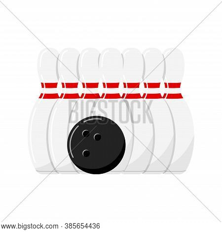 Bowling Ball And Pin Behind Vector Icon Isolated On White Background. Black Bowling Ball And White S