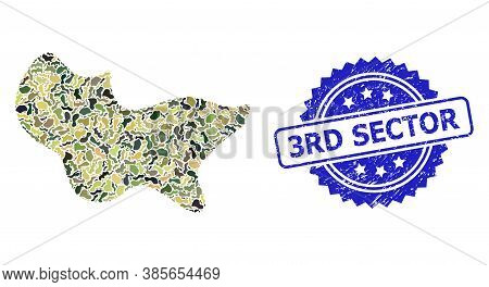 Military Camouflage Composition Of Spot, And 3rd Sector Corroded Rosette Seal Print. Blue Seal Inclu