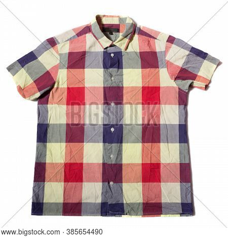 Summer Shirt With Short Sleeves And Blue Red Check Pattern On A White Background