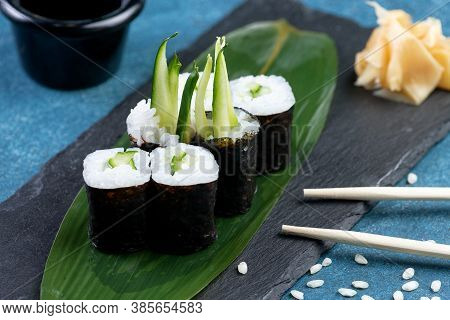 Sushi Roll With Cucumber, Classic Japanese Sushi. Traditional Japanese Food With Maki. Delicious Pie