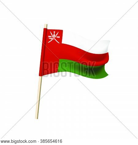 Oman Flag. Emblem With Two Crossed Sabers With A Khanjar Superimposed On Them, Traditional Oriental