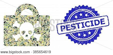 Military Camouflage Combination Of Mortal Case, And Pesticide Unclean Rosette Stamp Seal. Blue Stamp