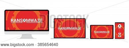 Cyber Attack Malware Wannacry Or Maze Ransomware Virus Encrypted Files And Lock On Pc, Labtop, Table